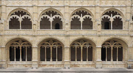Jeronimos Monastery ornamental windows in Lisbon, Portugal