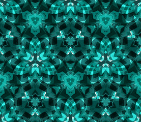 Kaleidoscope seamless pattern, background, consisting of abstract shapes in teal. Useful as design element for texture and artistic compositions.