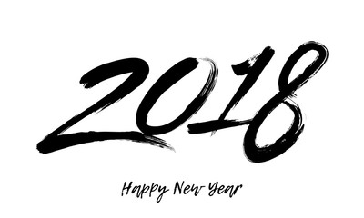 Happy New Year 2018 paintbrush calligraphy text greeting card vector white background