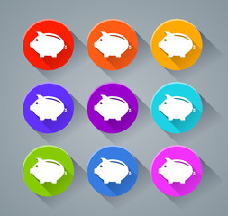 piggy bank icons with various colors