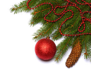 Christmas background. Top view with copy space. fir tree with cone and red ball isolated on white background