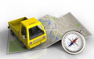3d yellow truck
