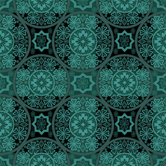 Turquoise seamless lace pattern background
