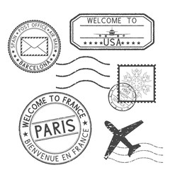 Set of black stamps. Postmarks and travel stamps- Welcome to France, Welcome to USA