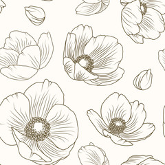 Hellebore floral summer autumn seamless pattern. Winter Christmas rose. Lenten rose. Poppy flowers field meadow backdrop texture. Sepia brown outline on beige background. Vector design illustration.