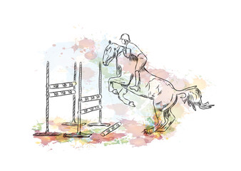 Watercolor sketch of Equestrian Horse jumping sports in vector illustration.