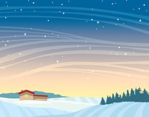 Winter night landscape - house, forest, snowdrifts.