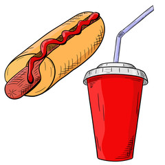 Fast food - hot dog with drink in disposable cup. Hand drawn colored sketch