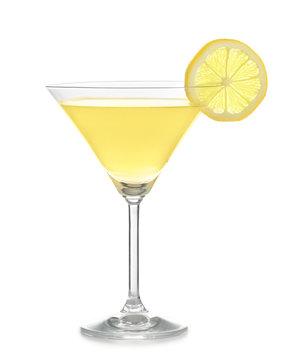 Glass of lemon drop martini on white background