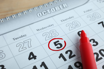 Calendar and felt-tip pen