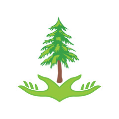 tree and hand logos