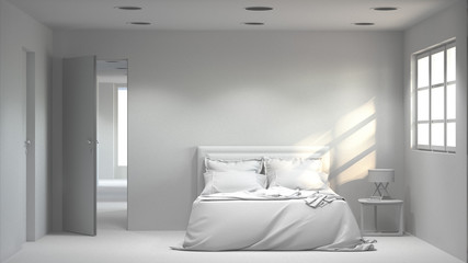 White empty bedroom modern space interior 3d rendering and sunlight