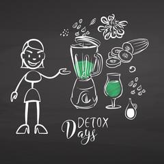Hand-drawn detox vegetables on chalkboard