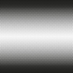 Horizontal seamless Halftone of rounded squares decreases to center, on white background. Contrasty halftone background. Vector