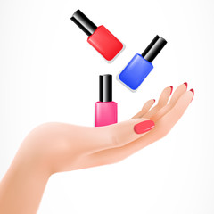 Female hand tossing nail lacquers vector