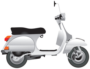Scooter, motor scooter, popular personal transport realistic vector illustration