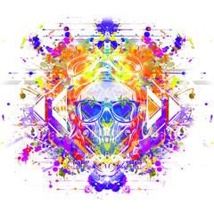 Злой череп красочные иллюстрации искусства с красочными краской фон splatters.