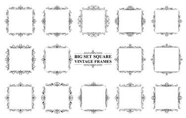 Large set of black vintage square frames