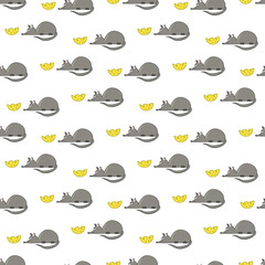 Pattern with a small mouse and yellow cheese