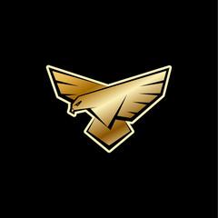 Golden Falcon logo. A bird with large wings is landing. Flat vector logo template with a bird of prey, falcon or eagle.