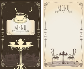 Vector menu for a cafe or restaurant with place for text and image of the table with a kettle and cups on the background of the night old european cityscape, moon and cat