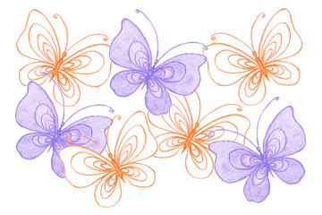 Colorful Butterflies collage, handmade pencils drawing, art hobby wallpaper