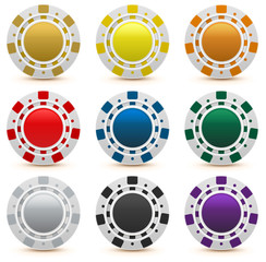 Set gambling casino chips isolated