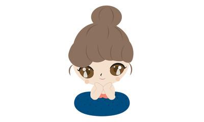 Cute girl cartoon summer concept