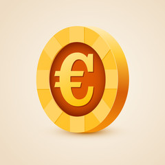 Gold coin of euro isolated on bright background