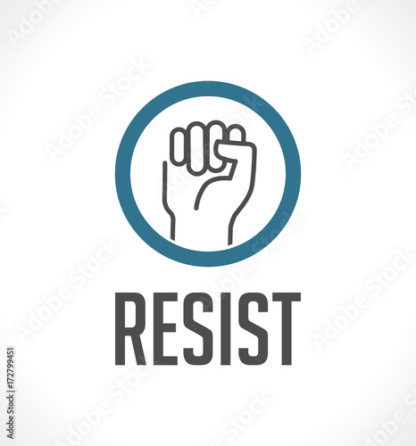 Logo Resist Concept Fist As Symbol Of Resistance Stock Image