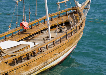 beautiful wooden sailing vessel