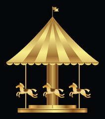 Amusement park with golden carousel horses