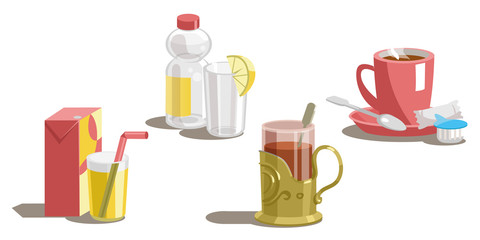 Set of drinks on a white background.Vector
