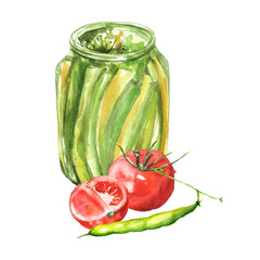 Watercolor drawing. Bank with beans, peas in a pod and tomato. Illustration on white isolated background.