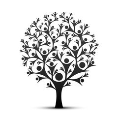 People tree sign color black on the white background. Vector illustration