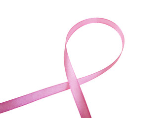 Pink awareness ribbon over white background