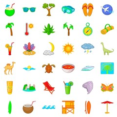 Paradise icons set, cartoon style