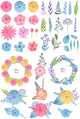 Big set with beautiful watercolor flowers, twigs, leaves, design compositions and elements, frames isolated on white background