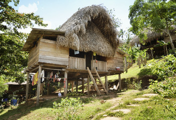 Thatched hut - Native indian home at the Embera Indian village, Embera Drua, Chagres River, Panama