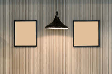Modern ceiling lamp and beautiful wall with black picture frame for interior contemporary decoration
