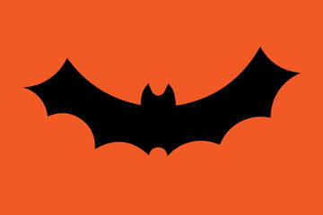 Flying bat silhouette isolated on orange. Vector illustration.