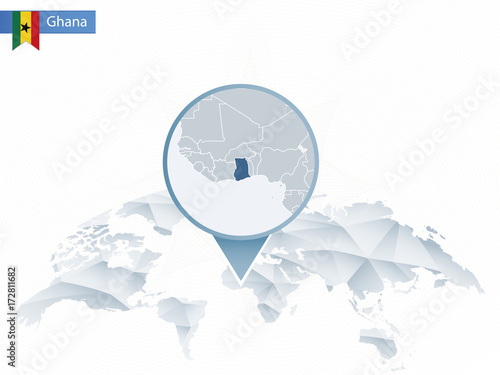 Ghana On A World Map.Abstract Rounded World Map With Pinned Detailed Ghana Map Stock