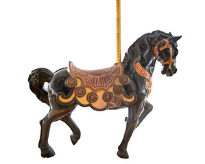 Old classic carousel horse isolated on white background