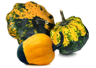 Three Decorative Pumpkins Isolated on White
