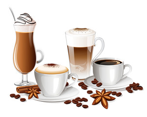 Set of coffee drinks with coffee beans, cinnamon sticks and anise stars