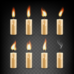 Vector realistic candle with fire animation icon set