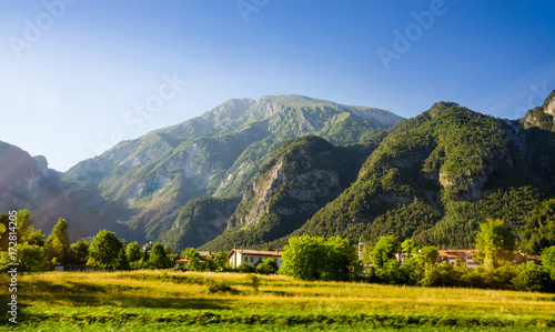 Wall mural Summer panorama of Alps mountains