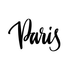 The inscription Paris- city name hand-drawing of black ink on a white background. Vector Image. It can be used for a  sticker, patch, invitation card, brochures, poster and etc.