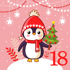 Vector christmas advent calendar in childrens style. Cute penguin lies Christmas tree in her hand. Illustration with animal that is standing in the snow.