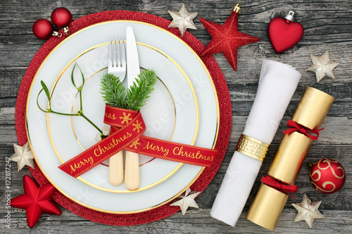 Christmas Table Place Setting With Dinner Plates Cutlery With Fir